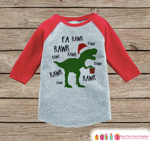 Dinosaur Christmas Outfit - T Rex Christmas Shirt or Onepiece - Holiday Outfit for Baby, Toddler, Youth - Boy Dino Outfit Tyrannosaurus Rex - 7 ate 9 Apparel