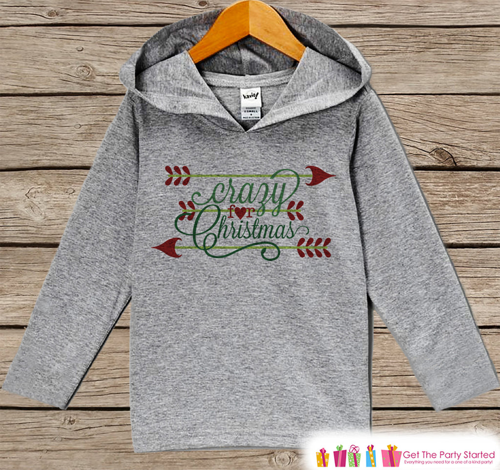 Crazy For Christmas - Kids Christmas Outfit - Grey Christmas Sweater - Kids Hoodie Pullover - Holiday Shirt for Baby, Toddler, Youth