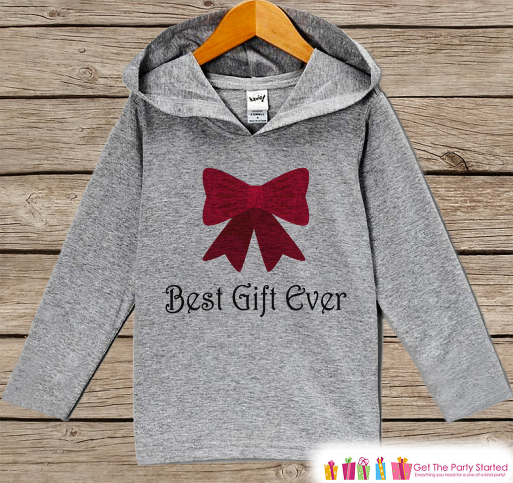 Best Gift Ever - Kids Hoodie Pullover - Grey Christmas Sweater - Christmas Pregnancy Announcement - Holiday Outfit for Baby, Toddler, Youth - Bow - 7 ate 9 Apparel