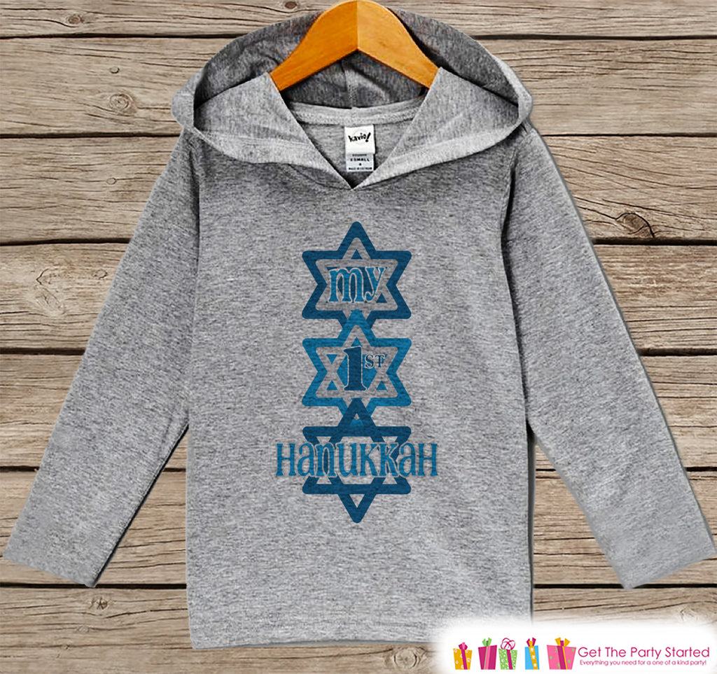 My First Hanukkah Sweater - Hanukkah Shirt - Kids Holiday Outfit - Grey Kids Hoodie Pullover - Hanukkah Shirt for Baby, Toddler, Youth