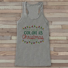Christmas Lights Tank - Adult Christmas Shirt - Funny Christmas Top - Womens Tank Top - Grey Tank - Merry Christmas Tank - Holiday Gift Idea