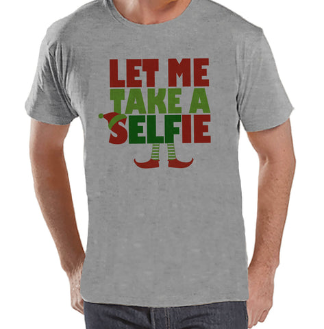 Let Me Take a Selfie Shirt - Christmas Elf Tee - Men's Christmas T-Shirt - Men's Grey T Shirt - Holiday Gift Idea - Funny Holiday Shirt - 7 ate 9 Apparel