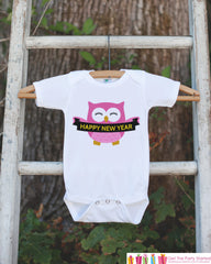 Owl New Years Outfit - New Years Eve Onepiece or Shirt - New Year Outfit for Baby or Toddler - Pink Owl Happy New Year Shirt for Baby, Youth