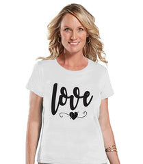 Ladies Valentine Shirt - Love Valentines Shirt - Womens Happy Valentines Day Shirt - Valentines Gift for Her - Black Heart - White T-shirt - 7 ate 9 Apparel