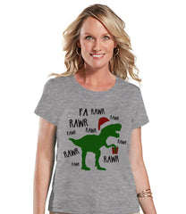 Christmas Dinosaur - Women's Christmas Shirt - Ladies Holiday Top - Grey Tee - Winter T Shirt - Fun Holiday T-Shirt - Holiday Gift For Her