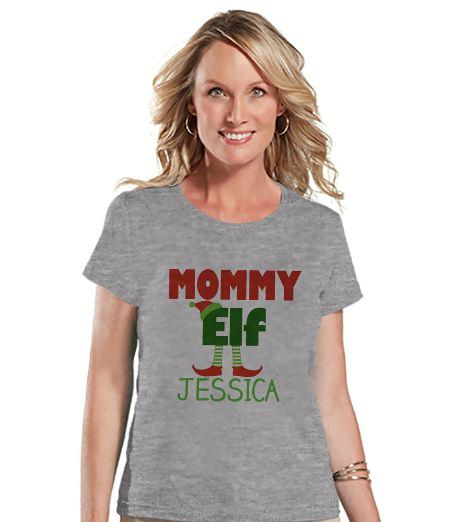 Custom Mommy Elf - Women's Christmas Shirt - Ladies Holiday Top - Grey Tee - Winter T Shirt - Holiday T-Shirt - Personalized Family Outfits - 7 ate 9 Apparel