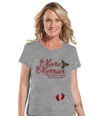 More the Merrier - Women's Grey Christmas Shirt - Ladies Holiday Top - Future Mom T Shirt - Christmas Pregnancy T-Shirt - Custom Baby Reveal - 7 ate 9 Apparel