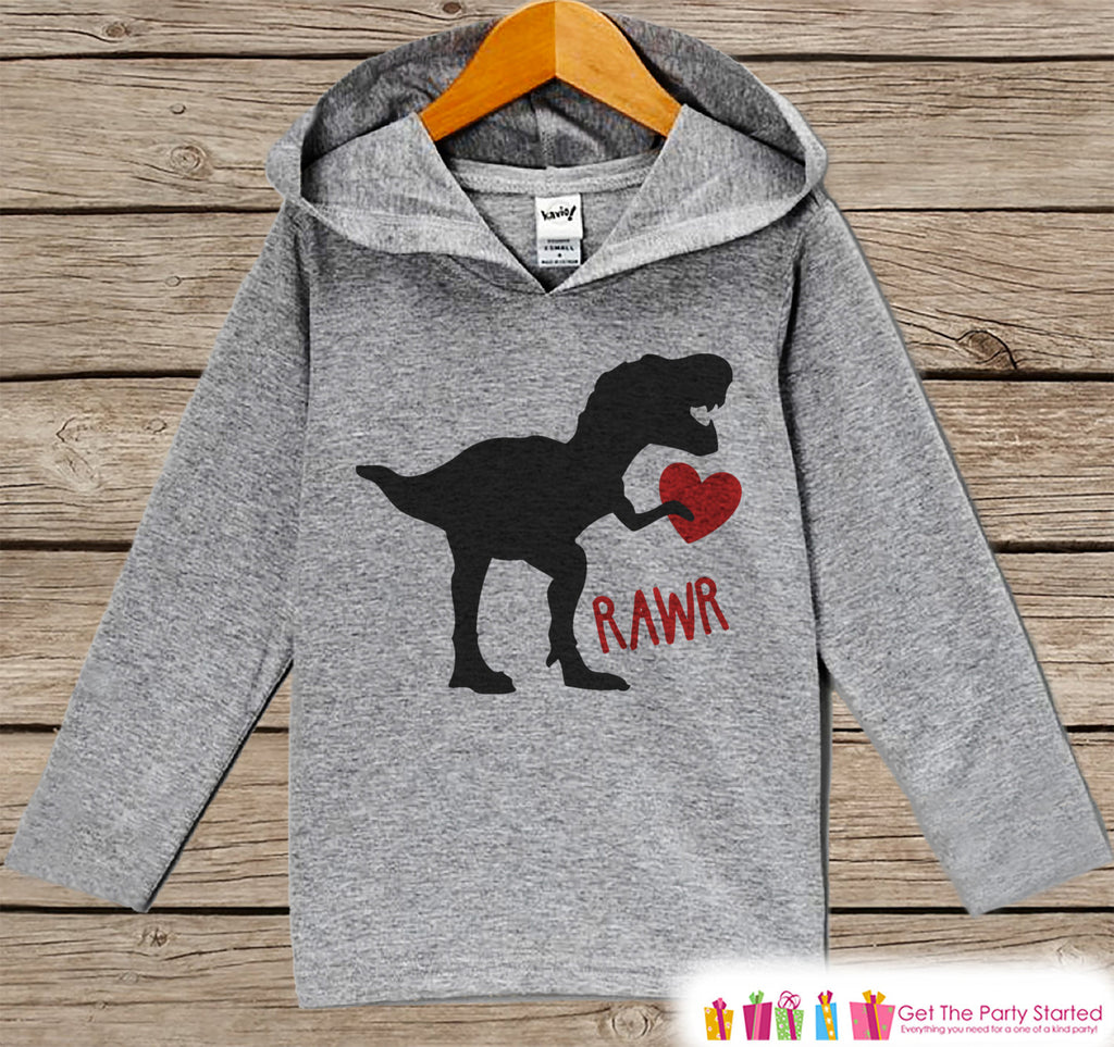 Boys Valentines Day Outfit - Kids Dinosaur Valentine Pullover - Funny Boys Valentine's Day Outfit - Kids, Baby, Toddler Hoodie - Dino