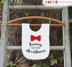 Fancy Bow Tie Christmas Bib for Baby - 1st Christmas Dinner Bib - Winter Holiday Bib for Baby Boy - Christmas Gift For Baby
