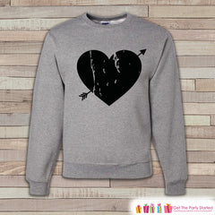 Adult Valentine Shirt - Womens Valentines Day Sweatshirt - Cupid Black Heart Arrow Valentines Day Shirt - Grey Adult Crewneck Sweatshirt - 7 ate 9 Apparel