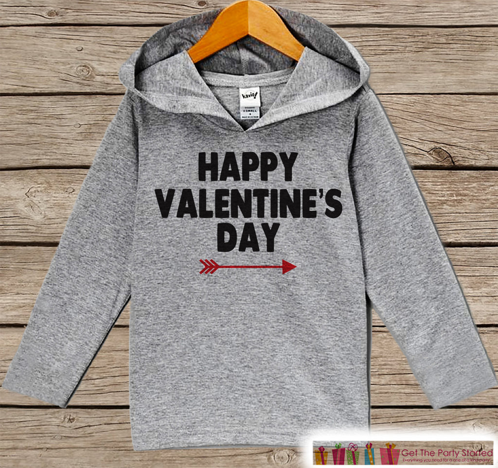 Kids Valentines Day Outfit - Girl or Boy Hoodie - Happy Valentine Pullover - Red Arrow Valentine's Day Outfit - Baby, Kids, Toddler Hoodie - 7 ate 9 Apparel