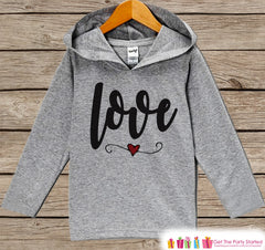 Kids Valentines Day Outfit - Kids Hoodie - Love Script Valentine Pullover - Baby Girls Valentine's Day Outfit - Baby, Kids, Toddler Shirt - 7 ate 9 Apparel