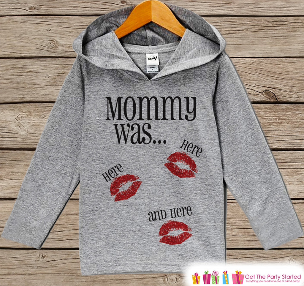 Kids Valentines Day Outfit - Kids Kisses Hoodie - Mommy Was Here Valentine Pullover - Funny Valentine's Day Outfit - Baby, Kids, Toddler - 7 ate 9 Apparel