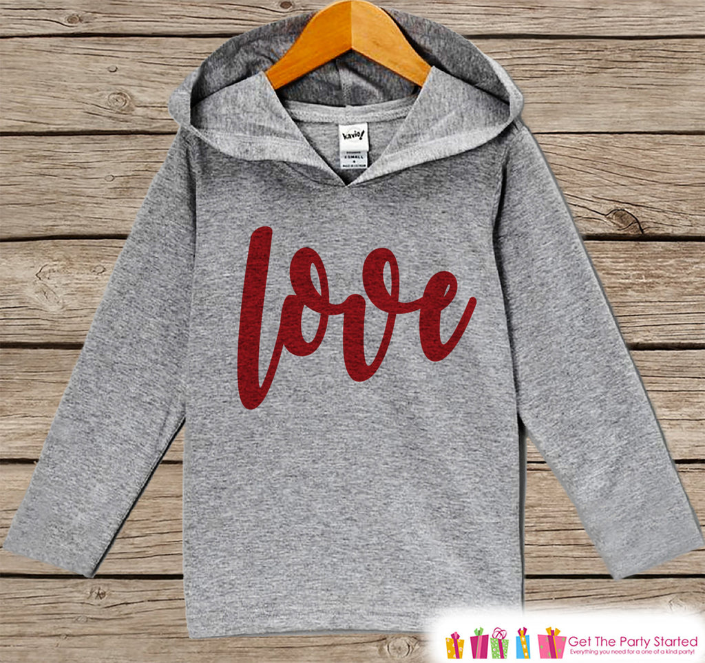 Kids Valentines Day Outfit - Kids Hoodie - Red Love Script Valentine Pullover - Baby Girls Valentine's Day Outfit - Baby, Kids, Toddler - 7 ate 9 Apparel