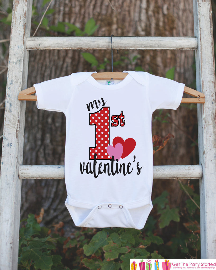 Girls Valentines Day Outfit - My 1st Valentine's Day Onepiece or T-shirt - Valentine Shirt for Baby Girls or Boys - Kids Valentine Outfit