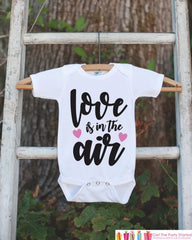Girls Valentines Day Outfit - Valentine's Day Onepiece or T-shirt - Love Is In The Air Valentine Shirt for Baby Girls - Kids Valentine Shirt - 7 ate 9 Apparel