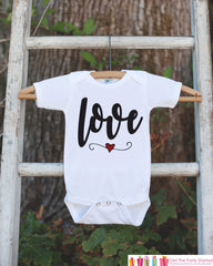 Girls Valentines Day Outfit - Valentine's Day Onepiece or T-shirt - Love Script Heart Valentine Shirt for Baby Girls - Kids Valentine Shirt - 7 ate 9 Apparel