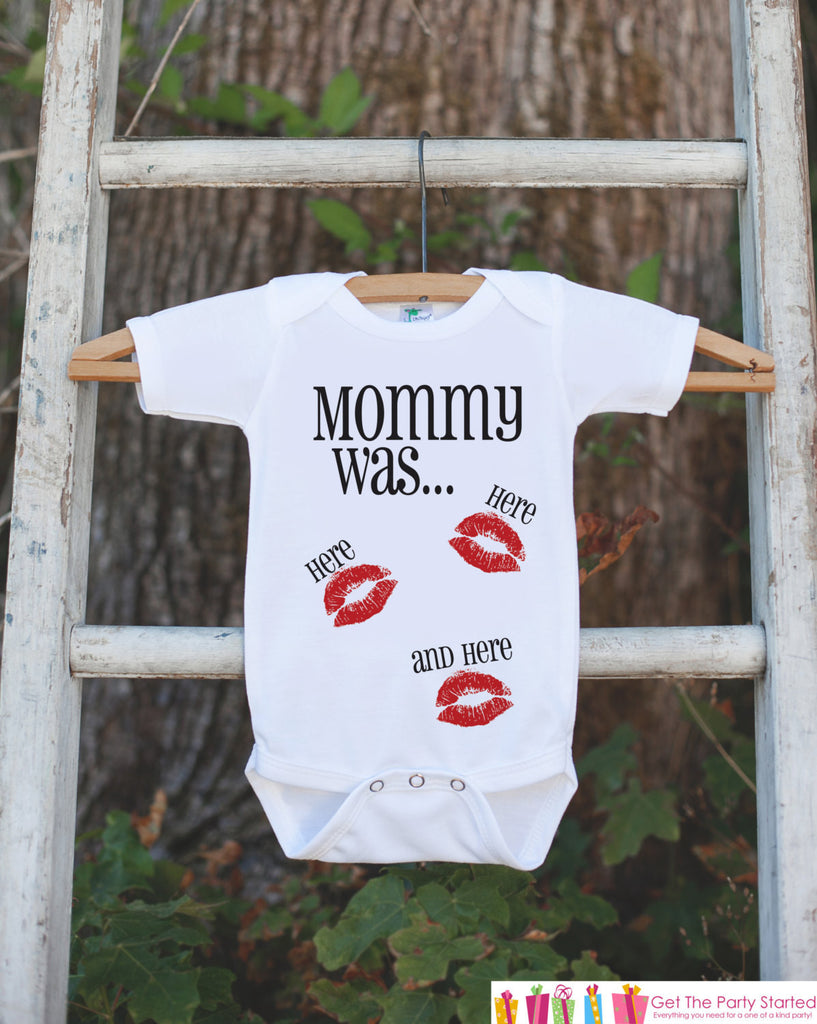Kids Valentines Day Outfit - Funny Valentine's Day Onepiece or T-shirt - Mommy Was Here - Kisses Shirt - Baby Girls or Boys - Valentine Tee - 7 ate 9 Apparel