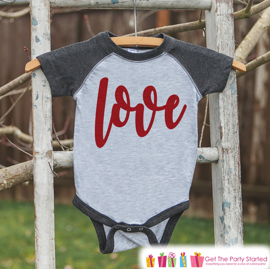 Kids Valentines Outfit - Red Love Script Valentines Day Shirt or Onepiece - Boy or Girl Valentine Shirt - Baby, Toddler, Youth - Grey Raglan - 7 ate 9 Apparel