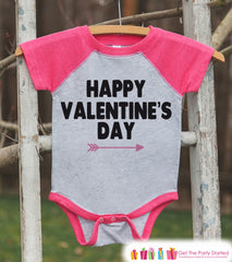 Girls Valentines Outfit - Happy Valentine's Day Shirt or Onepiece - Girls Valentine Shirt - Kids, Baby, Toddler, Youth - Pink Raglan - 7 ate 9 Apparel