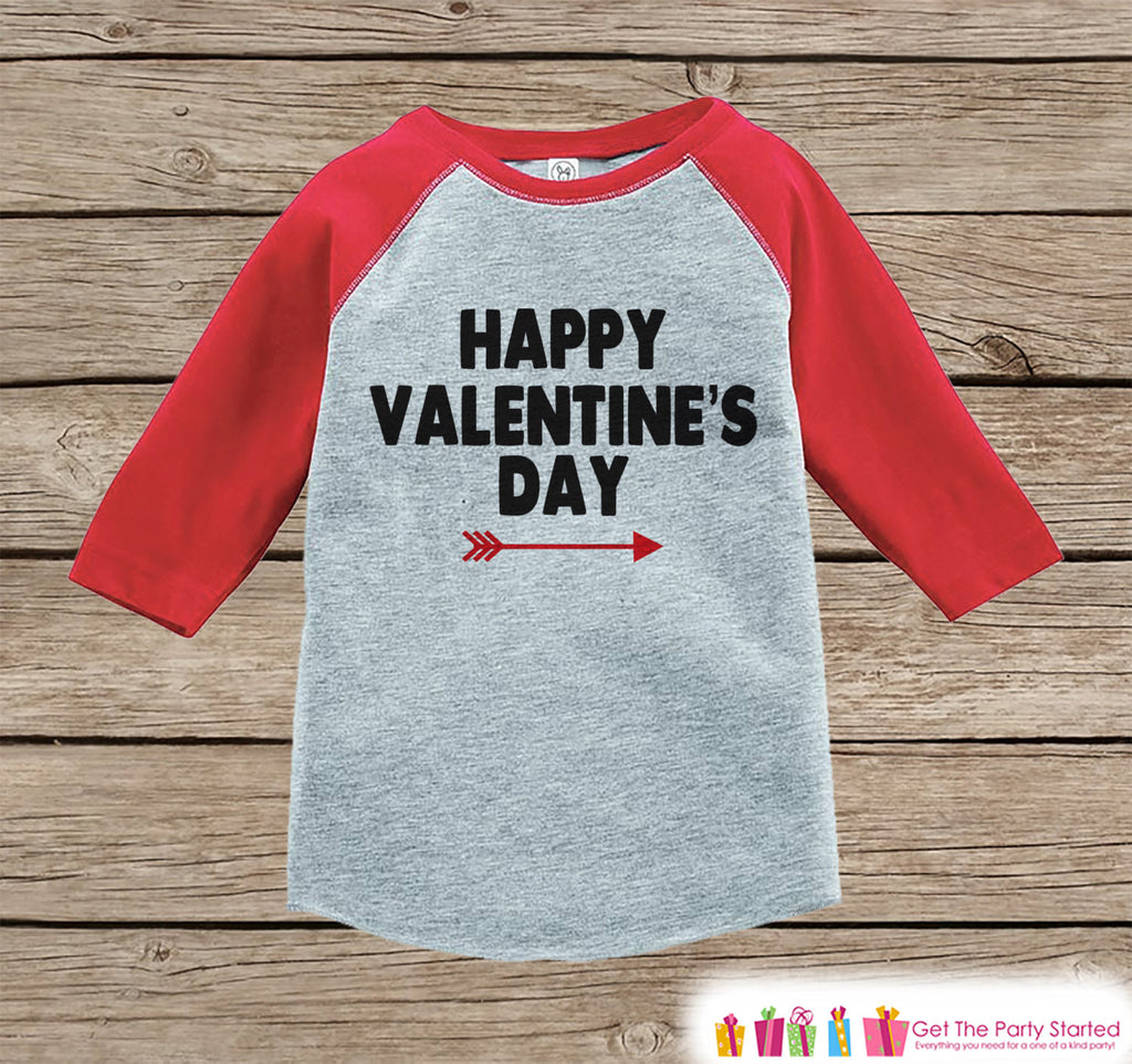 Kids Valentines Outfit - Happy Valentine's Day Shirt or Onepiece - Boy or Girl Valentine Shirt - Kids, Baby, Toddler, Youth - Red Raglan - 7 ate 9 Apparel