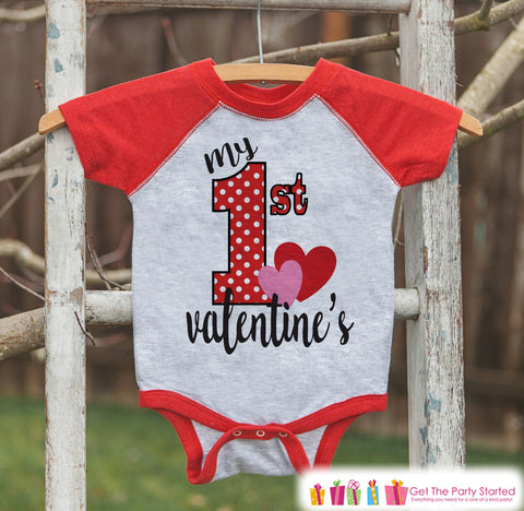 Baby Valentines Outfit - My 1st Valentine's Day Shirt or Onepiece - Boy or Girl Valentine Shirt - Kids, Baby, Toddler, Youth - Red Raglan - 7 ate 9 Apparel