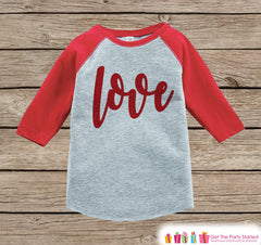 Kids Valentines Outfit - Red Love Script Valentine's Day Shirt or Onepiece - Boy or Girl Valentine Shirt - Baby, Toddler, Youth - Red Raglan - 7 ate 9 Apparel