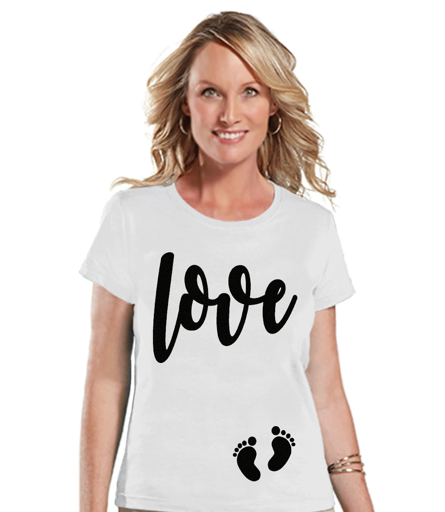 Valentine's Pregnancy Shirt - Love with Baby Feet Shirt - Pregnancy Reveal - Valentine's Day Pregnancy Announcement - Womens White T-shirt