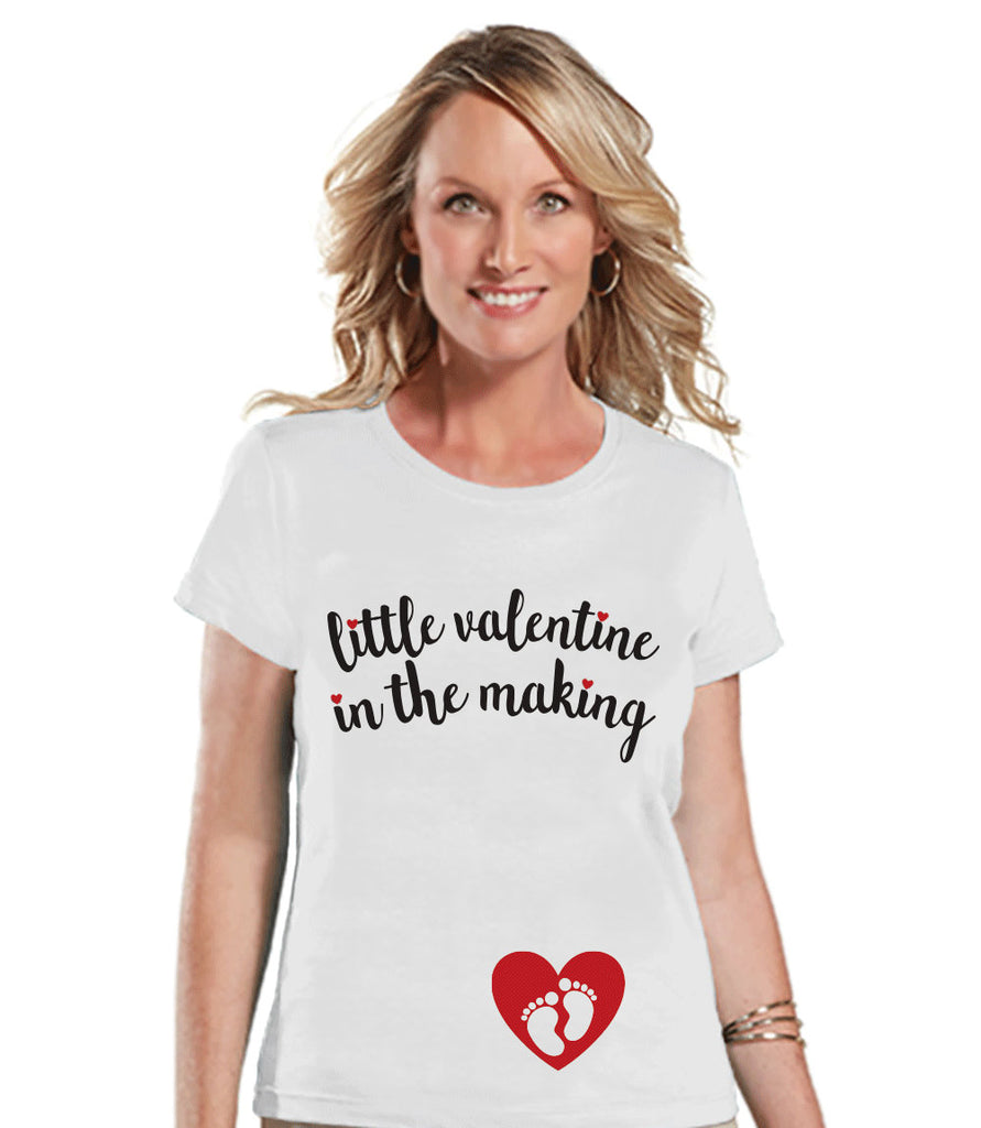 Valentine's Pregnancy Shirt - Valentine in the Making - Pregnancy Reveal - Valentine's Day Pregnancy Announcement - Womens White T-shirt