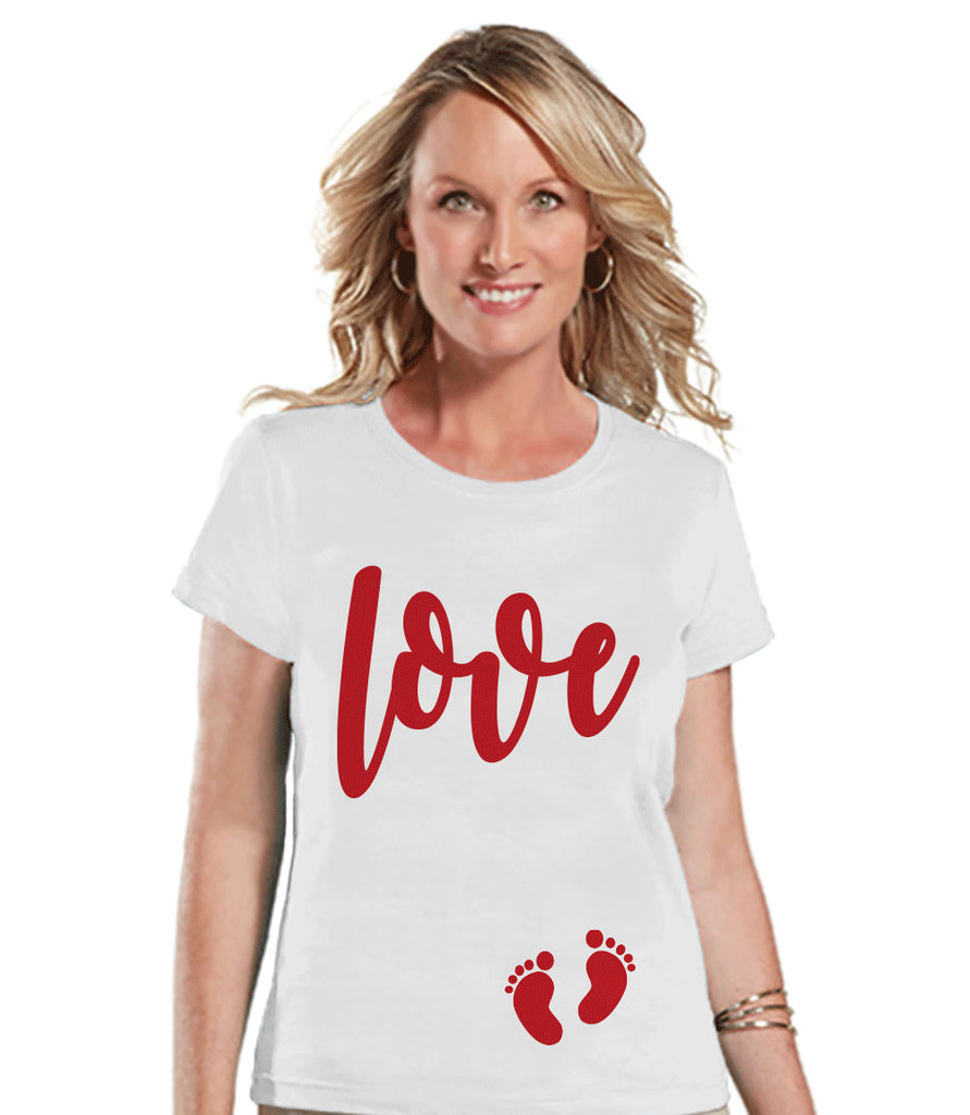 Valentine's Pregnancy Shirt - Red Love Baby Feet Shirt - Pregnancy Reveal - Valentine's Day Pregnancy Announcement - Womens White T-shirt