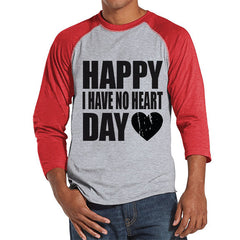 Men's Valentine Shirt - Funny Valentine Shirt - I Have No Heart - Happy Valentines Day - Anti Valentines Gift for Him - Red Raglan Shirt - 7 ate 9 Apparel