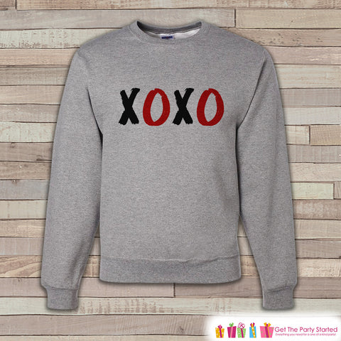 Adult Valentines Shirt - XOXO Valentines Day Sweatshirt - Hugs Kisses Happy Valentines Day Shirt - Grey Men's or Women's Crewneck Sweatshirt - 7 ate 9 Apparel