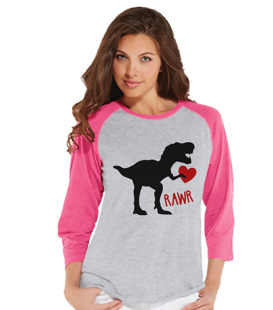 Ladies Valentine Shirt - Womens Dinosaur Valentines Day Shirt - Valentines Gift for Her - Dino Love Happy Valentine's Day - Pink Raglan - 7 ate 9 Apparel