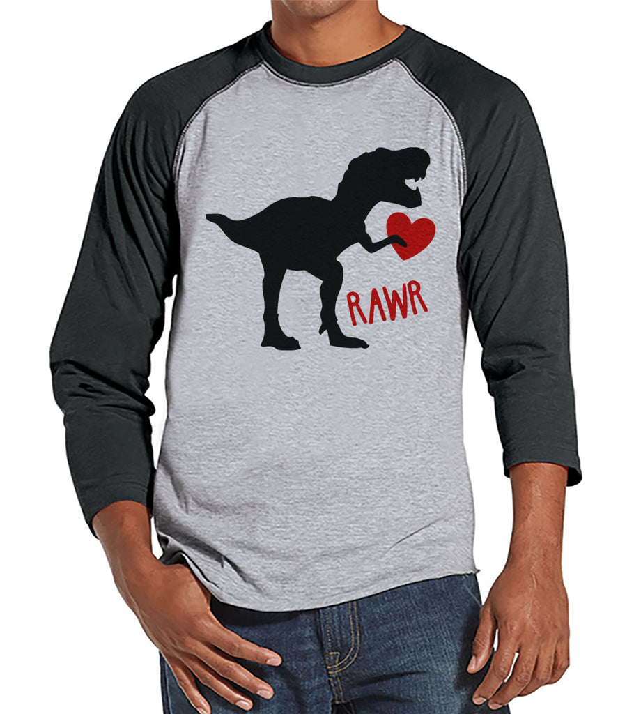 Men's Valentine Shirt - Mens Dinosaur Valentines Day Shirt - Dino Valentines Gift for Him - Funny Happy Valentine's Day - Grey Raglan