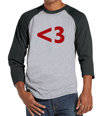 Men's Valentine Shirt - Mens <3 Red Heart Valentines Day Shirt - Valentines Gift for Him - Funny Happy Valentine's Day - Grey Raglan - 7 ate 9 Apparel