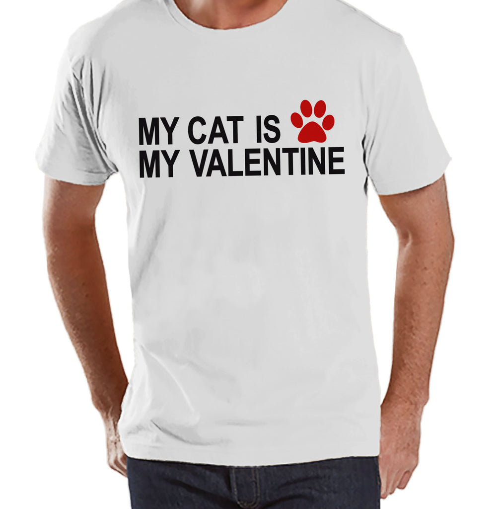 T-shirt's Valentine Shirt - Funny Cat Valentine Shirt - Mens Happy Valentines Day Shirt - Funny Anti Valentines Gift for Him - White T-shirt - 7 ate 9 Apparel