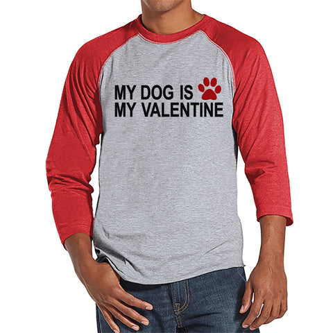 Men's Valentine Shirt - Funny Dog Valentine Shirt - Mens Happy Valentines Day Shirt - Funny Anti Valentines Gift for Him - Red Raglan Shirt - 7 ate 9 Apparel
