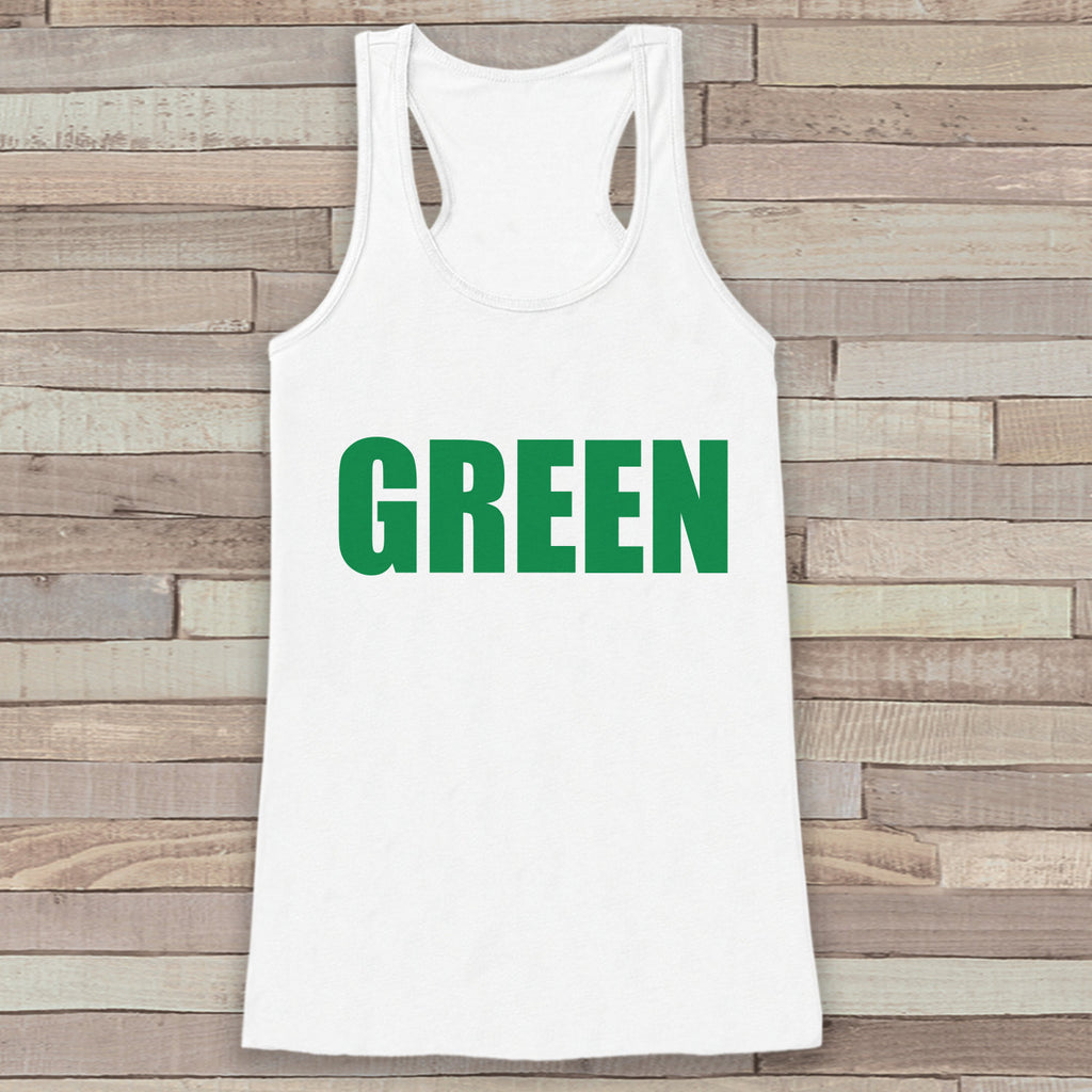 St. Patrick's Tank Top - Women's St. Patricks Day Tank - White Tank Top - Green Shirt - No Pinching - St. Patty's Tank - Humorous Gift Idea - 7 ate 9 Apparel