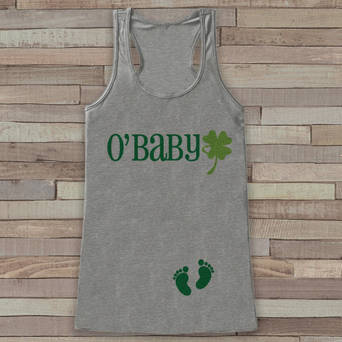 St. Patrick's Tank Top - Women's St Patrick's Day - Grey Tank Top - Funny O'Baby Tank - Pregnancy Reveal - St. Patty's Baby - Announcement - 7 ate 9 Apparel