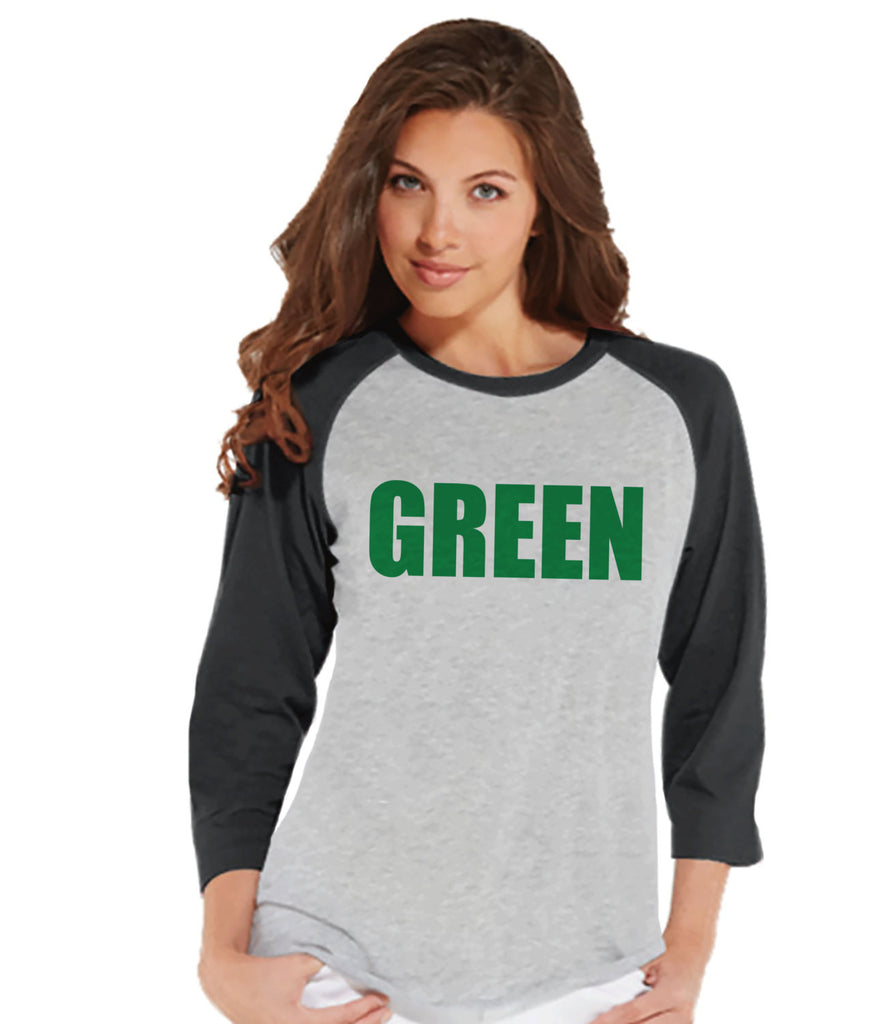 Womens St. Patrick's Shirt - Funny St Patricks Shirt - Green - Wear Green - Pinch Proof - Gift For Her - Ladies Baseball Tee - Grey Raglan - 7 ate 9 Apparel