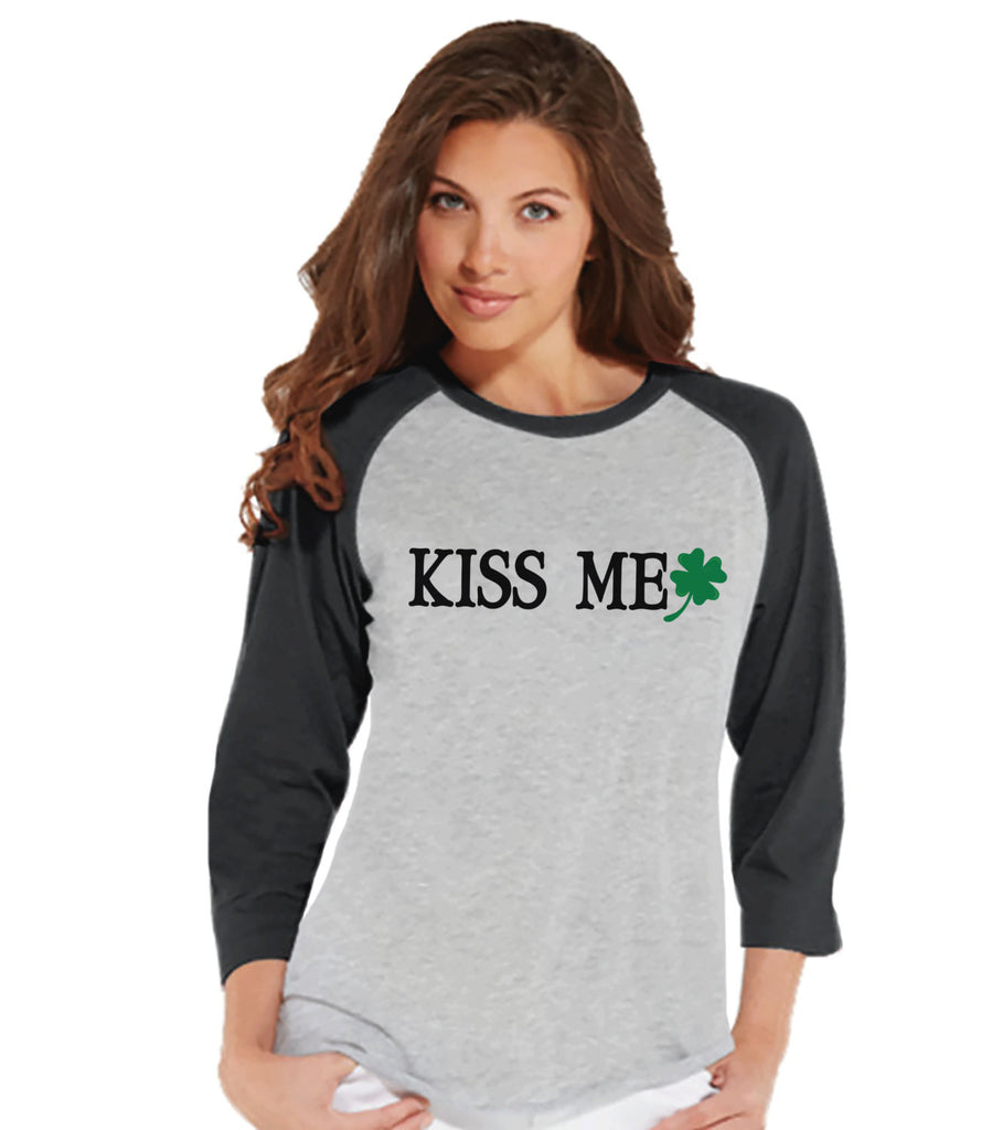 Womens St. Patrick's Shirt - Funny St Patricks Shirt - Kiss Me Shirt - Irish Clover - Gift For Her - Ladies Baseball Tee - Grey Raglan - 7 ate 9 Apparel
