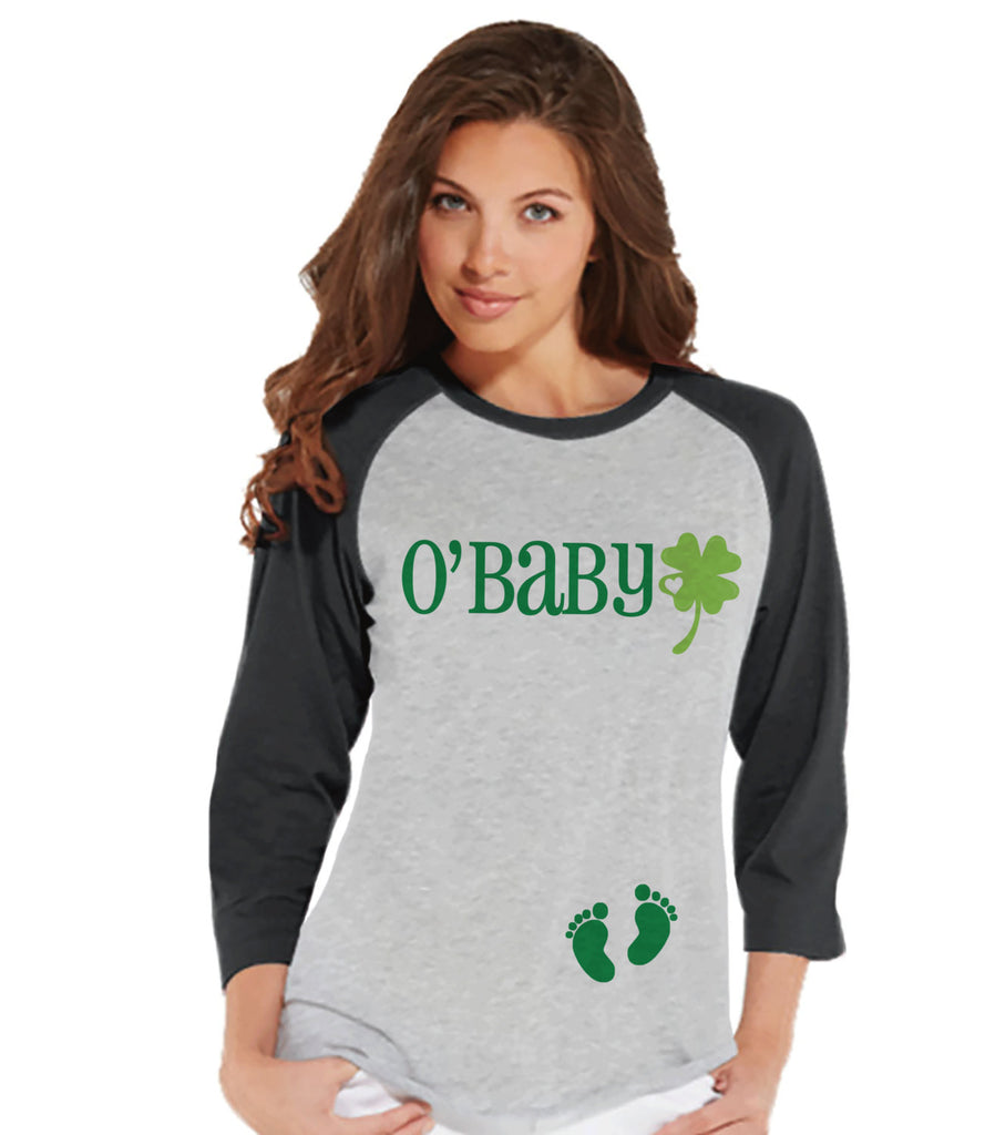 Womens St. Patrick's Shirt - O'Baby - Pregnancy Reveal - Baby Announcement - St. Patrick's Baby - Irish Baby - Baseball Tee - Grey Raglan - 7 ate 9 Apparel