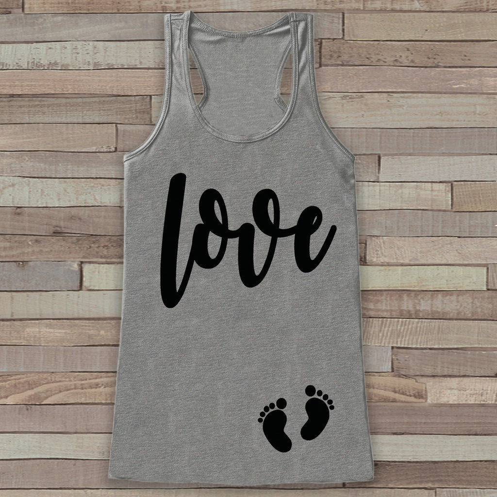 Valentine's Day Pregnancy Reveal Tank Top - Women's Pregnancy Announcement Shirt - Love Baby Feet Pregnancy Reveal Shirt - Grey Tank Top