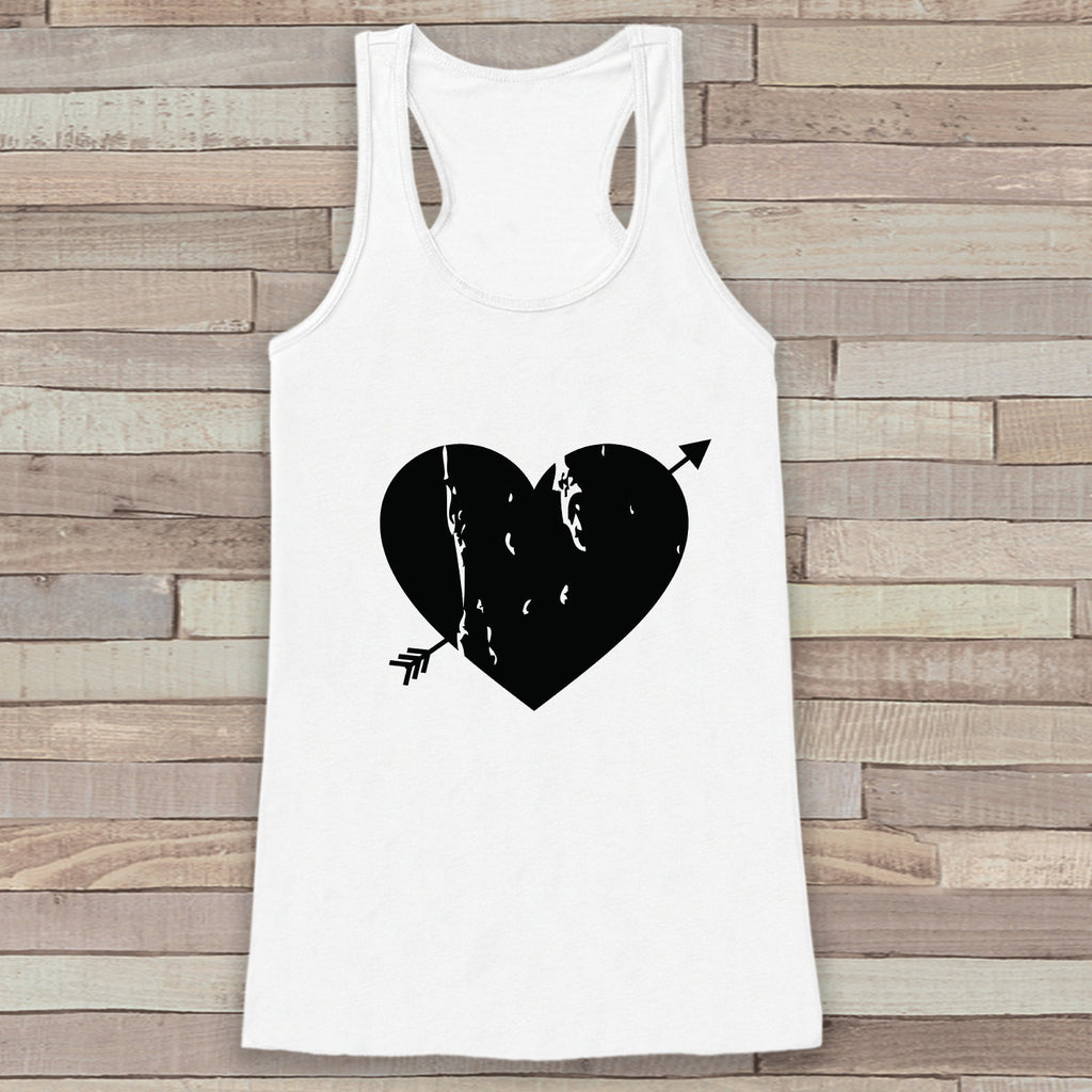 Womens Valentine Shirt - Cute Valentine's Day Tank Top - Women's Happy Valentine's Day Tank - Black Heart Valentines Shirt - White Tank Top - 7 ate 9 Apparel