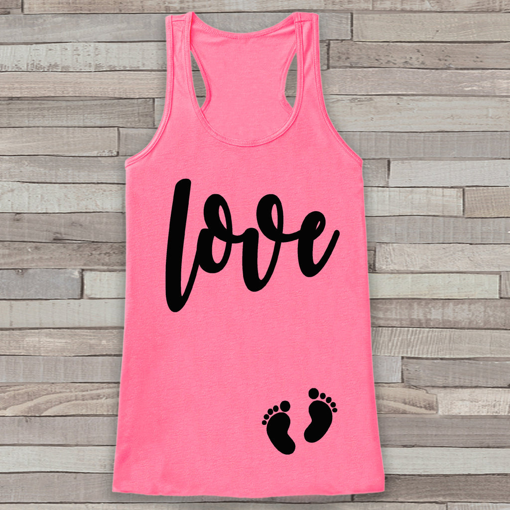 Valentine's Day Pregnancy Reveal Tank Top - Women's Pregnancy Announcement Shirt - Love Baby Feet Pregnancy Reveal Shirt - Pink Tank Top