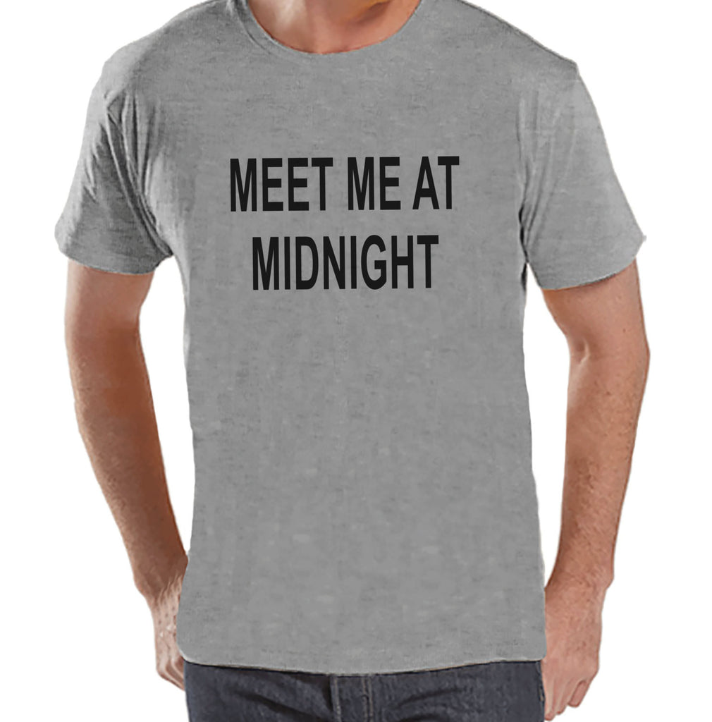 Meet At Midnight Shirt - New Years Eve - Funny New Years Shirt - Mens Grey Shirt - Mens Grey Tee - Gift for Him - Mens New Years Outfit - 7 ate 9 Apparel