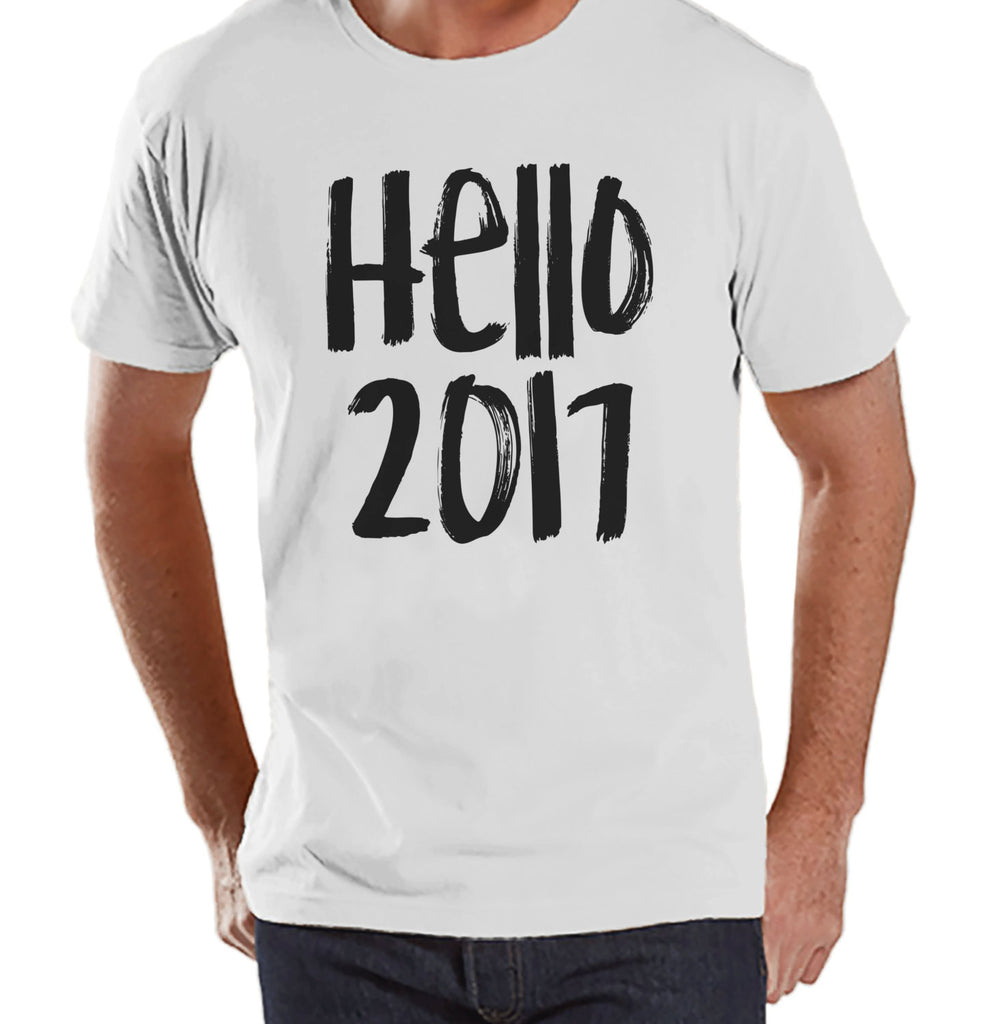 Hello 2017 Shirt - New Years Eve - Happy New Years - New Years Outfit - Mens White Shirt - Mens White Tee - Gift for Him - White T Shirt - 7 ate 9 Apparel