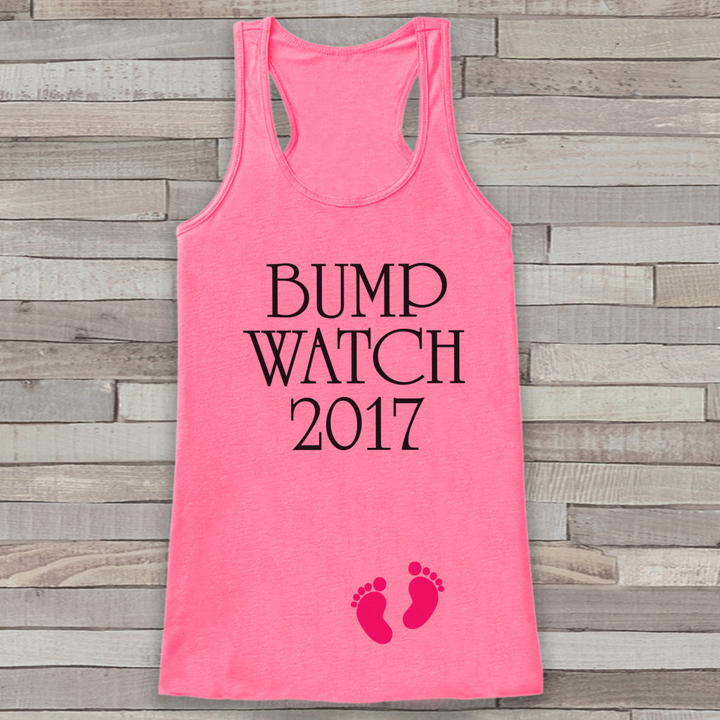 Bump Watch 2017 Tank Top - Baby Feet Shirt - Womens Tank Top - Happy New Year Tank -  Pink Tank - Pregnancy Announcement - Baby Reveal Idea - 7 ate 9 Apparel