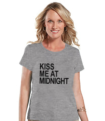 Kiss At Midnight - New Years Eve Shirt - Grey T Shirt - Womens T-Shirt - New Years Eve Party Shirt - Womens Grey Tee - Holiday Shirt - 7 ate 9 Apparel