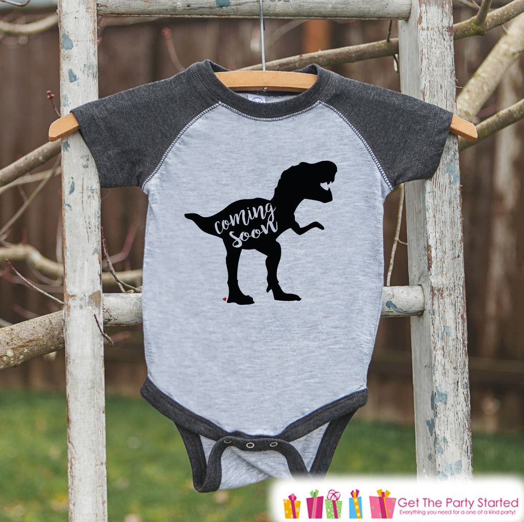Pregnancy Announcement - Dinosaur Coming Soon Grey Onepiece - Pregnancy Reveal Idea - New Baby Announcement - Grandparents Pregnancy Reveal